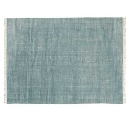 Fringed Hand-Loomed Rug - Blue Smoke - 9' x 12' - Pottery Barn