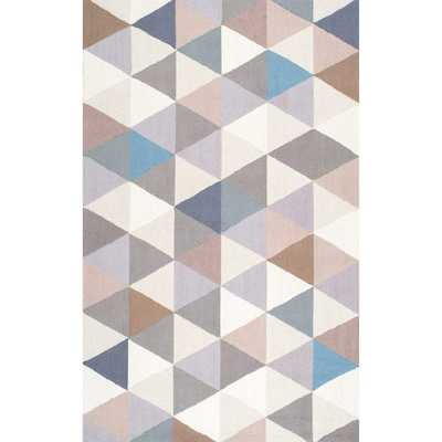 nuLOOM Handmade Dimensional Triangles Wool Grey Rug - Overstock