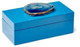 Medium Blue Lacquer Box w/ Blue Agate - One Kings Lane