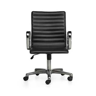 Ripple Black Leather Office Chair - Crate and Barrel
