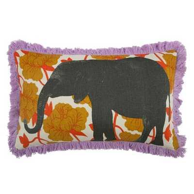 Elephant 12x20 Linen Lumbar Pillow -down feather insert - AllModern
