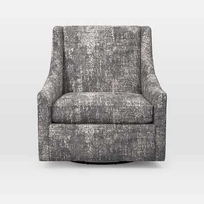 Sweep Swivel Armchair - Prints, Distressed Tapestry, Feather Gray - West Elm