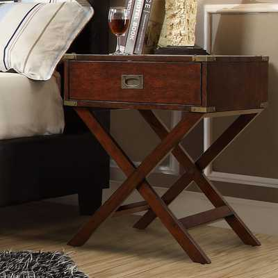 Kenton x Base Wood Accent Campaign Table - Espresso - Overstock