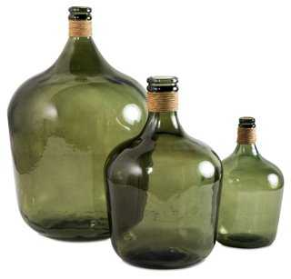 Asst. of 3 Glass Bottles w/ Raffia - One Kings Lane
