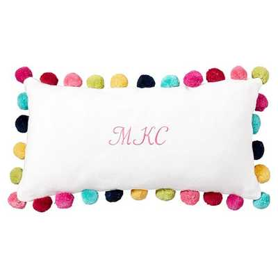 "Pom Pom Organic Pillow Cover, Multi-Poms - 12 x 24"" - Insert sold separately - Pottery Barn Teen"