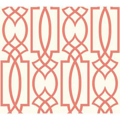 York Wallcoverings Carey Lind Watercolors White and Coral Large Lattice Wallpaper - Bellacor