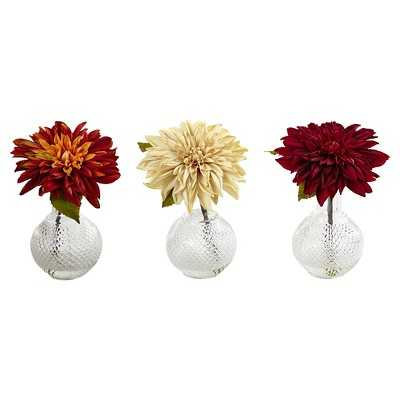 Vibrant Dahlia with Decorative Vase set of 3 - Target