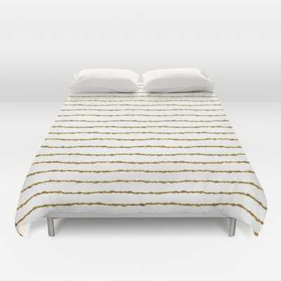 Duvet Cover / King - White & Gold Stripes Pattern - Society6