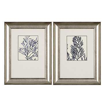 Ink Blue Coral - Set of 2 - 19''W x 25''H - Silver Frame - Z Gallerie