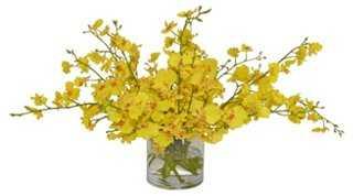 "24"" Yellow Orchids Arrangement , Faux - One Kings Lane"