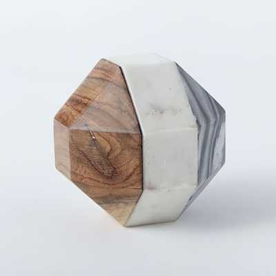 Marble + Wood Geometric Objects-  Octahedron - Small - West Elm