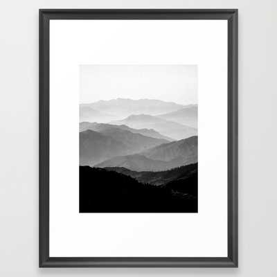 "Mountain Mist - Black and White Collection, 20"" x 26"", scoop black frame - Society6"