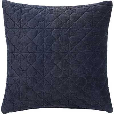 "August quilted navy 16"" pillow with feather insert - CB2"