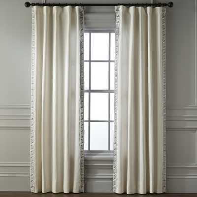 Greek Key Linen Drape, Grey - Williams Sonoma