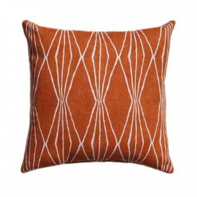 Handcut Shapes Orange Crush Diamond Ikat Pillow - landofpillows.com