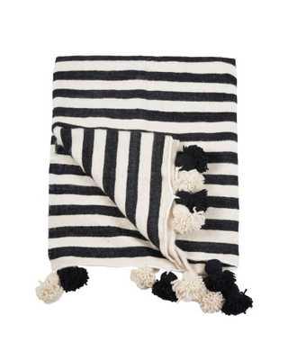 Pom Pom Blanket, Off-White/Black- Extra small - Domino
