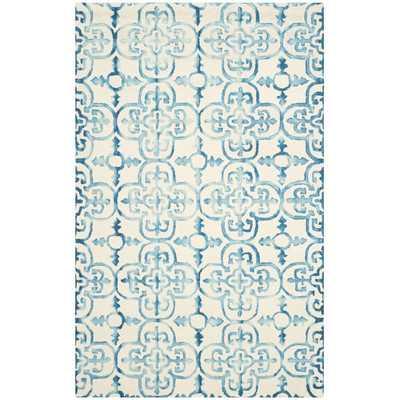 Dip Dye Hand-Tufted Ivory / Turquoise Area Rug - 6' x 9' - Wayfair
