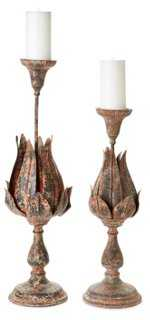 Asst. of 2 Floral Candleholders, Rust - One Kings Lane