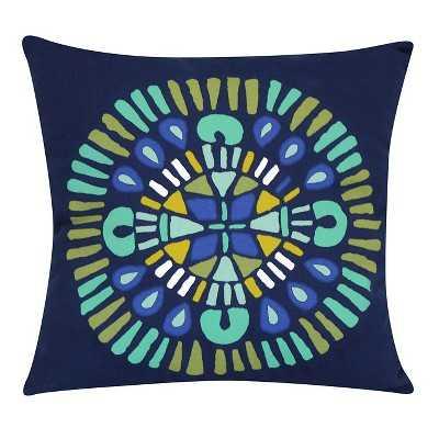 "Room Essentialsâ""¢ Outdoor Pillow - Navy Medallion- 15.000L x 15.000W-   Polyester insert - Target"