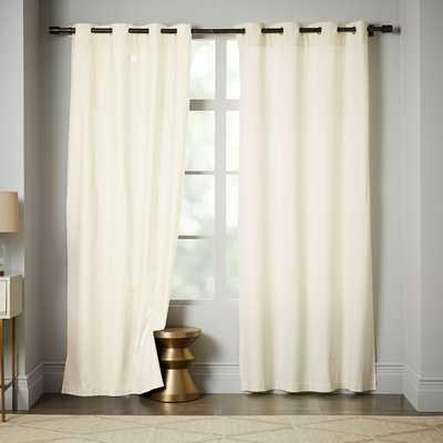"Opaque Linen Curtain With Grommets, 96""L, Ivory - West Elm"