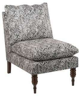 Bacall Slipper Chair, Black Chevron - One Kings Lane