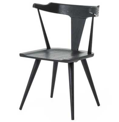 Tenly Mid Century Modern Black Oak Barrel Back Dining Chair - PAIR - Kathy Kuo Home