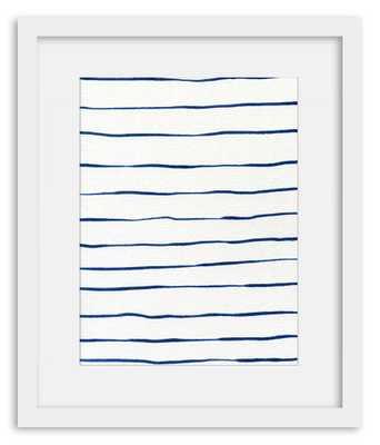 """Blue Stripes - 18"""" x 15"""" - Framed - Domino"""