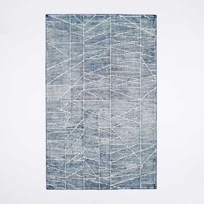 Erased Lines Wool Rug - Blue Lagoon - 6' x 9' - West Elm