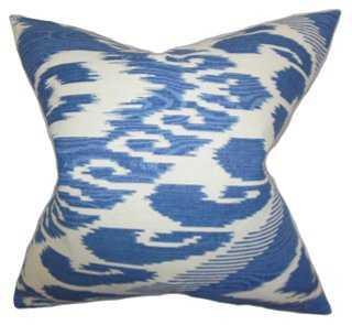 Ikat 18x18 Cotton Pillow, Blue - One Kings Lane