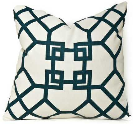 "Ming Trellis Navy Pillow - 18"" x 18"", Down Insert - Society Social"