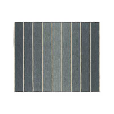 Bold Blue Striped Wool-Blend Dhurrie Rug - Crate and Barrel