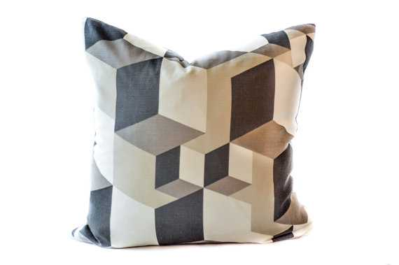 Black geometric pillow cover -18''- inserts sold separately - Etsy