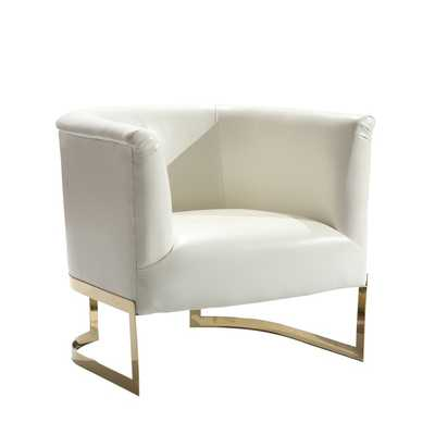Armen Living Elite Contemporary Accent Chair In White Leatherette and Gold Finish - Overstock