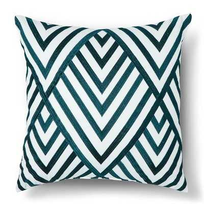 "Corazon Embroidered Square Pillow - 18""x18"" - Teal - Polyester Fill - Target"