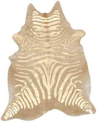 Silk Screen Zebra Cowhide Rug - Rugs USA