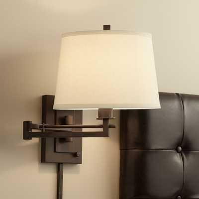 Easley Matte Bronze Plug-In Swing Arm Wall Light - Lamps Plus