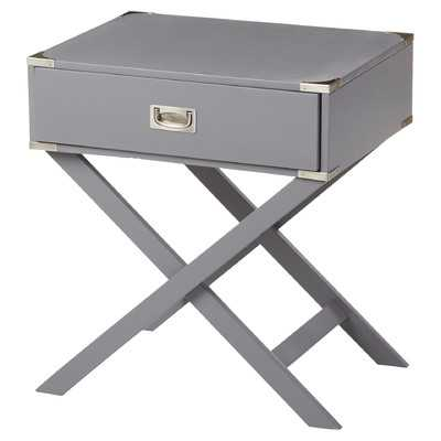 Neptune Campaign 1 Drawer End Table - Gray - Wayfair