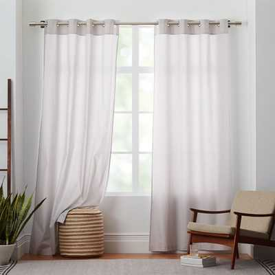 "Cotton Canvas Grommet Curtain- Frost Gray-96"" - West Elm"