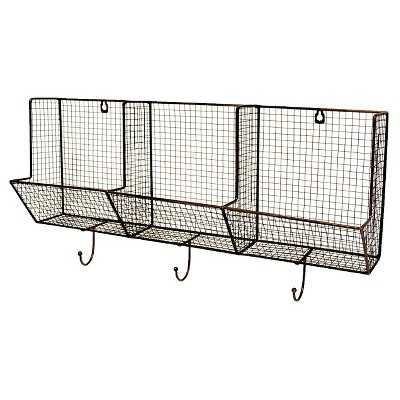 Wire Basket with Hooks 12x24 - 3-Slot - Target