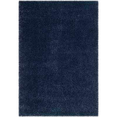 Safavieh California Cozy Solid Navy Shag Rug (5'3 x 7'6) - Overstock