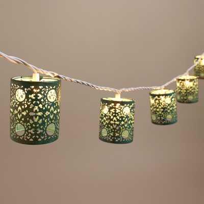 Turquoise Filigree Cylinder 10 Bulb String Lights - World Market/Cost Plus