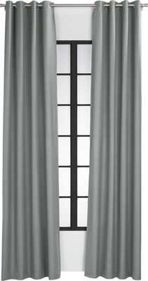 basketweave graphite curtain panel - CB2