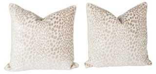 Velvet Spotted Cheetah Pillows, Pair-22 sq.-Insert included - One Kings Lane