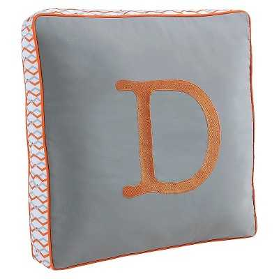 Letter Pillow - Gray/Orange- Polyester fill insert - Target