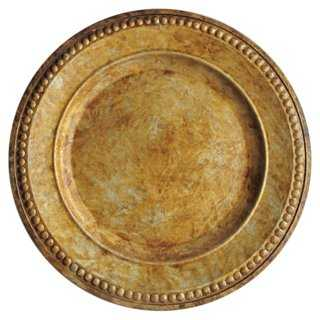 Gold Charger Plate - antiqued gold - One Kings Lane