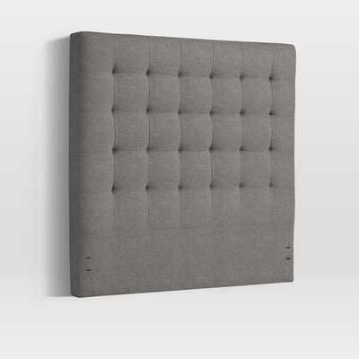 Tall Grid Tufted Headboard - Retro Weave, Feather Gray - West Elm