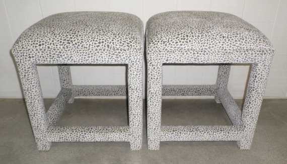 Pair of Upholstered Stools / Ottomans - Design Your Own In ANY Fabric - Etsy