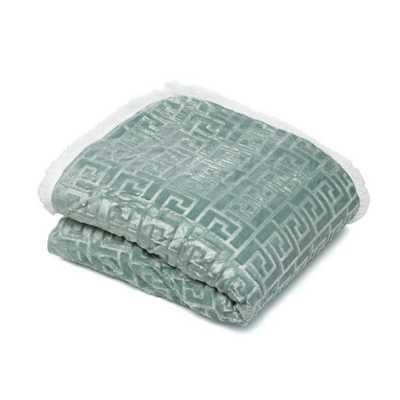 Textured Sherpa Throw Blanket - Green - AllModern