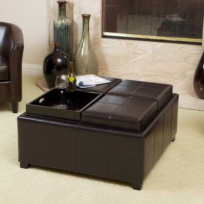 Christopher Knight Home Mason Bonded Leather Espresso Tray Top Storage Ottoman (As Is Item) - Overstock