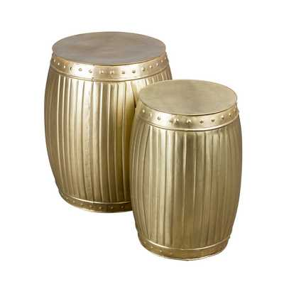 Set of 2 Brass Fluted Round Barrels (India) - Overstock